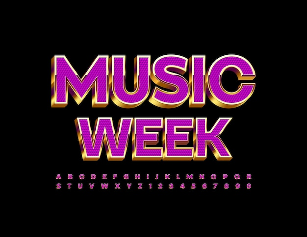 Cartel de evento de vector music week violet and gold luxury font elite alphabet letters and numbers set