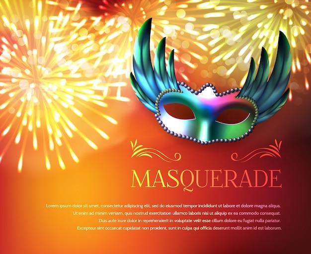 Cartel de la exhibición de los fuegos artificiales de la mascarada