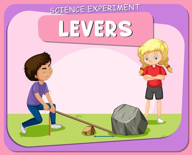 Cartel de experimento científico de palancas con personaje infantil.