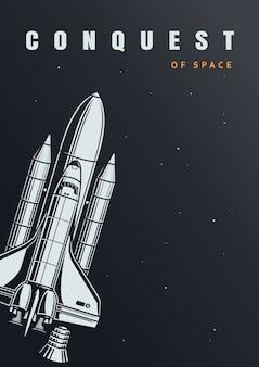 Cartel de exploración espacial vintage