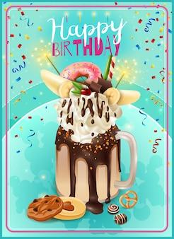 Cartel extremo del aviso de la fiesta de cumpleaños de freakshake