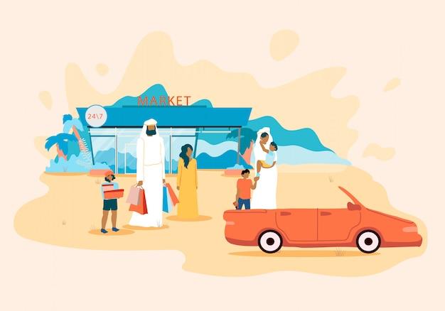 Cartel de la familia árabe en el estacionamiento del supermercado