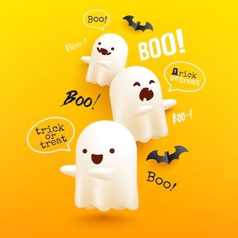 Cartel de fantasmas voladores de halloween y plantilla de banner con fantasmas blancos aterradores en amarillo