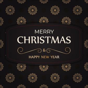 Cartel de felicitación feliz año nuevo y feliz navidad color blanco con patrón de invierno.
