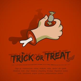 Cartel de felicitación de halloween con texto brazo zombie aterrador y dulces sobre fondo rojo.