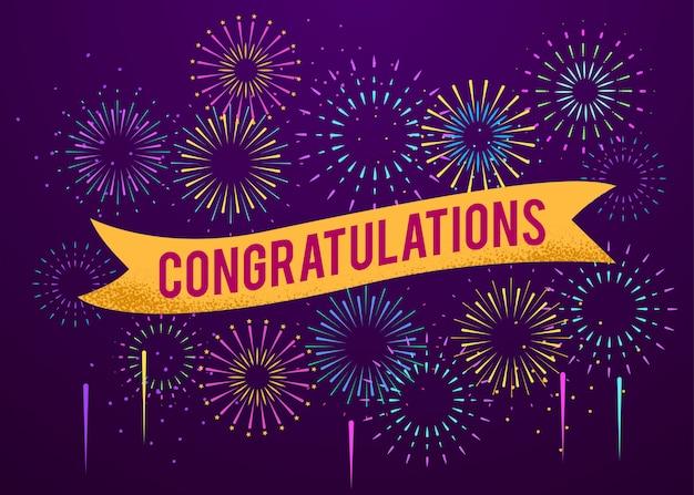 Cartel de felicitaciones con fondo de explosiones de fuegos artificiales.