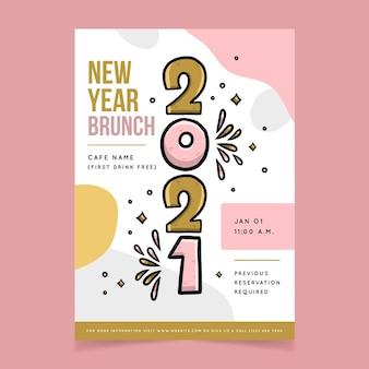 Cartel de feliz año nuevo 2021 dibujado a mano