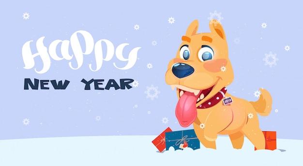 Cartel de feliz año nuevo con el perro en el fondo nevadas