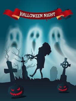 Cartel feliz del cementerio de halloween con zombie