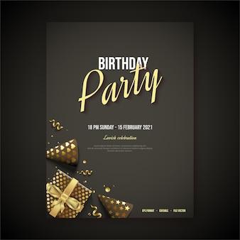Cartel de feliz cumpleaños con escritura dorada y sombrero dorado de cumpleaños.