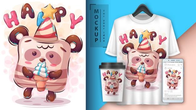 Cartel de feliz cumpleaños y merchandising