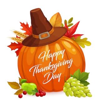 Cartel de feliz día de acción de gracias, calabaza de dibujos animados, sombrero, hojas de otoño.
