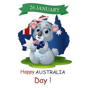 Cartel del feliz día de australia con un divertido koala en el fondo del mapa