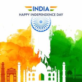 Cartel del feliz día de la independencia de la india con monumentos famosos, azafrán y efecto acuarela verde sobre fondo blanco.
