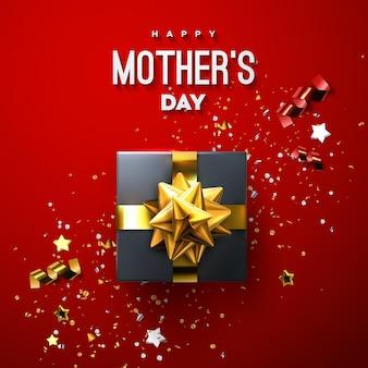 Cartel de feliz día de las madres con caja de regalo negra y confeti