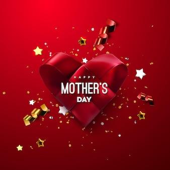 Cartel de feliz día de las madres con corazón de tela roja tejida y confeti