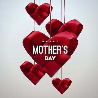 Cartel de feliz día de las madres con corazones de tela roja colgantes