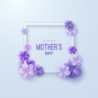 Cartel de feliz día de las madres con flores de color púrpura