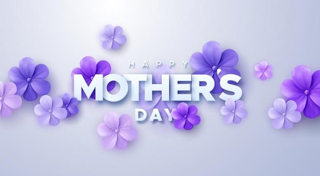 Cartel de feliz día de las madres con flores de papel púrpura