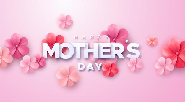 Cartel de feliz día de las madres con flores de papel rosa