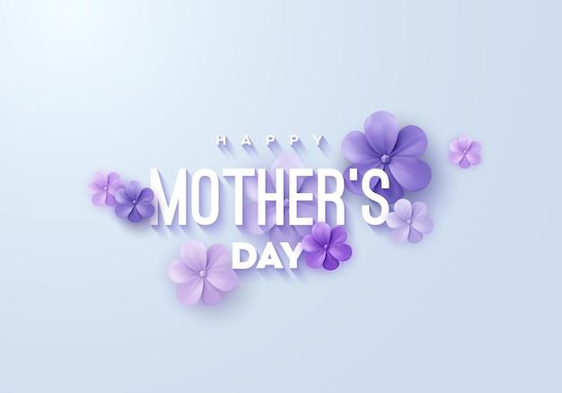 Cartel de feliz día de las madres con flores de papel