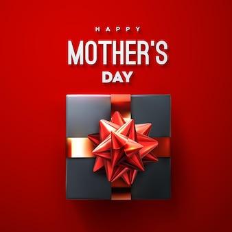 Cartel de feliz día de las madres con lazo rojo de caja de regalo negra