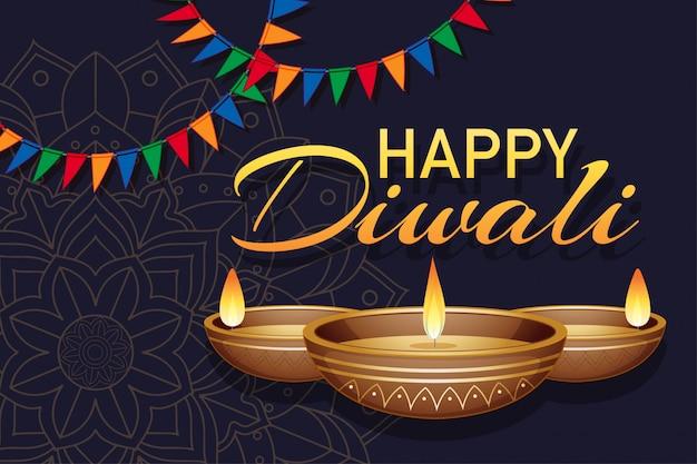 Cartel para feliz diwali