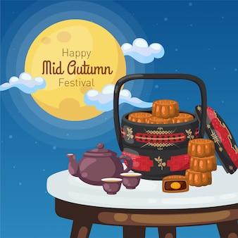 Cartel feliz del festival del medio otoño