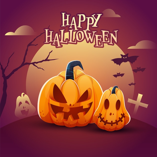 Cartel de feliz halloween con calabazas espeluznantes, árbol desnudo y murciélagos volando sobre fondo magenta degradado de luna llena.