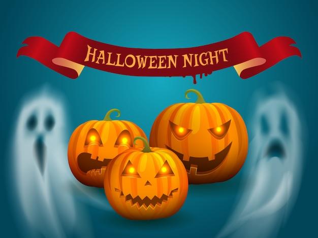 Cartel de feliz halloween con cinta fantasma