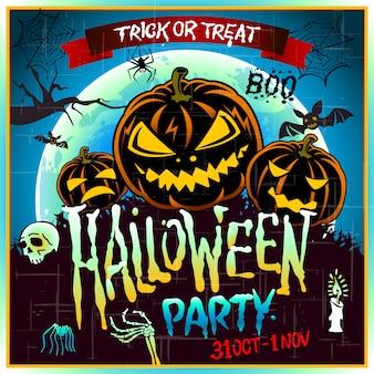 Cartel de feliz halloween ilustración vectorial