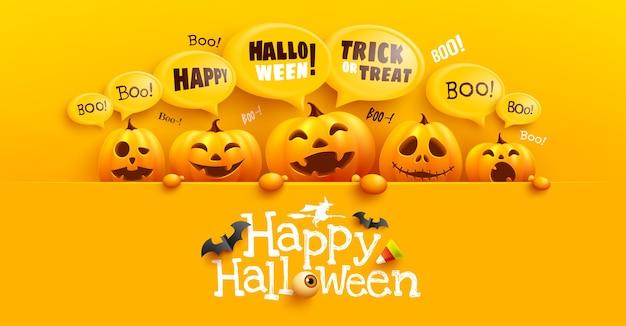 Cartel de feliz halloween y plantilla de banner con linda calabaza de halloween y mensaje de burbuja amarilla en la parte superior. sitio web espeluznante,