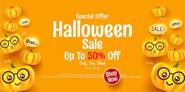 Cartel de feliz halloween y plantilla de venta de banner con linda calabaza de halloween