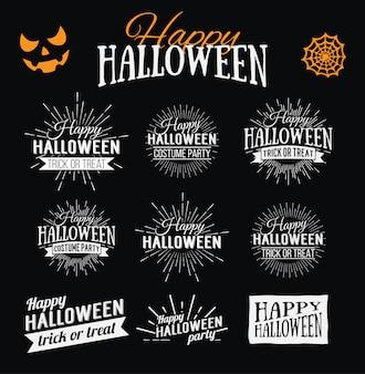 Cartel de feliz halloween sobre fondo de acuarela brillante con manchas y gotas. ilustración de la bandera de feliz halloween con elementos de halloween. murciélagos, telaraña