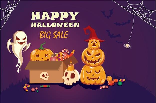 Cartel de feliz halloween con telarañas, huesos, calabazas y dulces. sobre fondo morado.