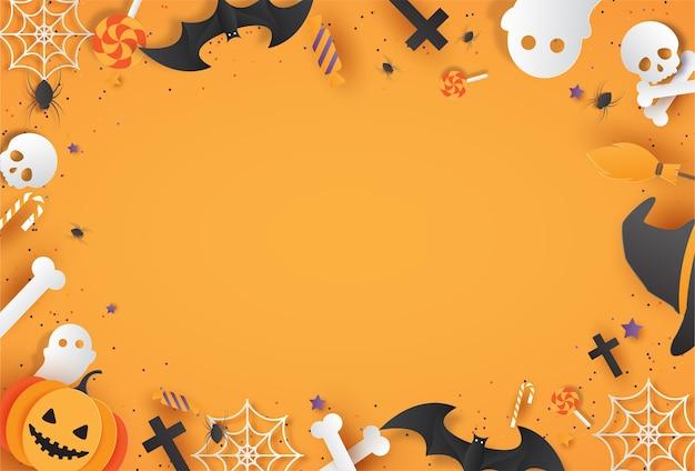 Cartel de feliz halloween con texto y estilo de corte de papel