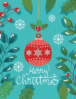 Cartel de feliz navidad con bolas decorativas y hojas