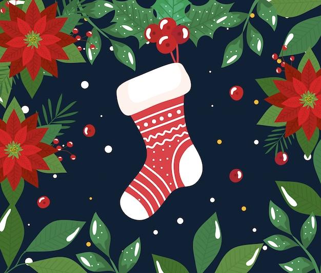 Cartel de feliz navidad con calcetín y decoración de flores