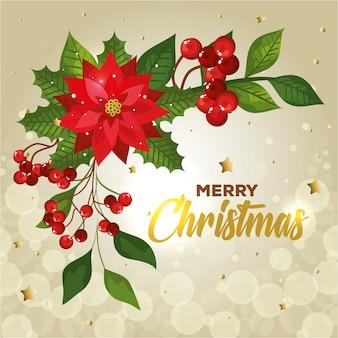 Cartel de feliz navidad con flores y decoración