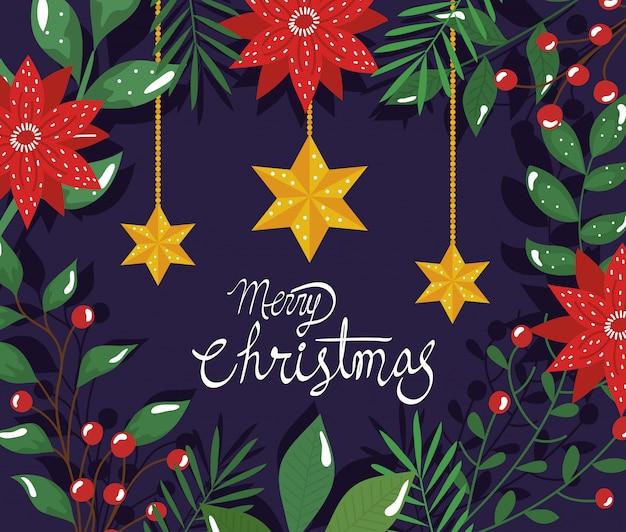 Cartel de feliz navidad con flores y estrellas colgando
