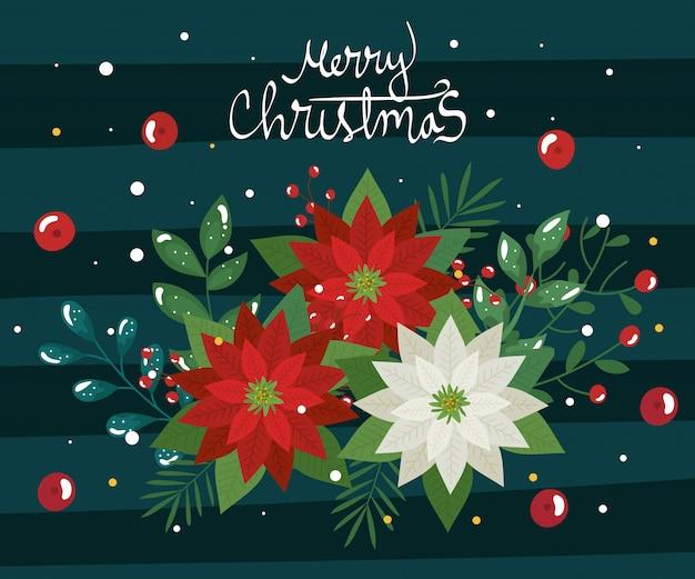 Cartel de feliz navidad con flores y hojas decorativas