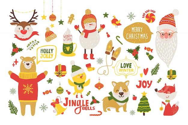 Cartel de feliz navidad con lindos animales de dibujos animados