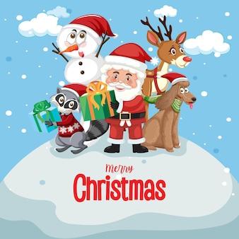 Cartel de feliz navidad con papá noel y amigos