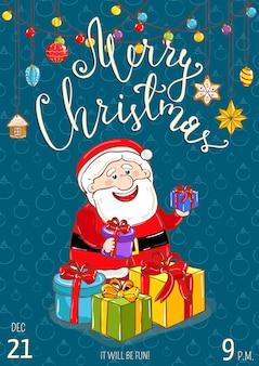 Cartel de feliz navidad para promoción de fiestas navideñas