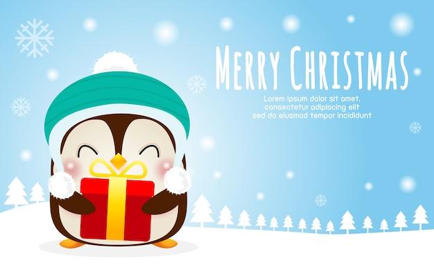 Cartel de feliz navidad y próspero año nuevo, lindo pingüino feliz con sombreros navideños