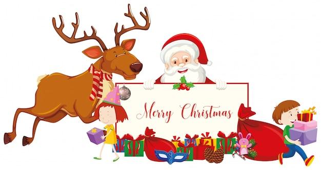 Cartel de feliz navidad con santa y renos
