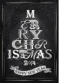Cartel feliz navidad tiza