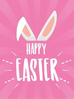 Cartel de feliz pascua con orejas de conejo en tarjeta de felicitación rosa
