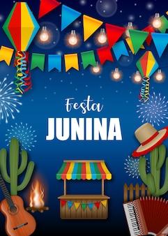 Cartel de festa junina con elementos brasileños.