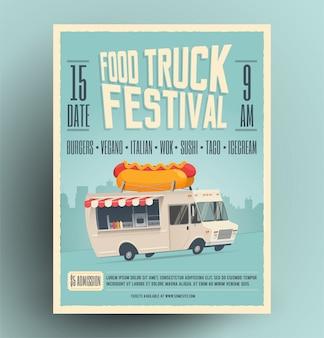 Cartel del festival del camión de comida, folleto, plantilla de comida callejera